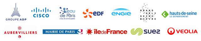 ADP • cisco • eau de Paris • EDF • ENGIE • Grand-Orly Seine Bièvre • Département des Hauts-de-Seine • Mairie d'Aubervilliers • Mairie de Paris • Région Ile-de-France • SUEZ • VEOLIA